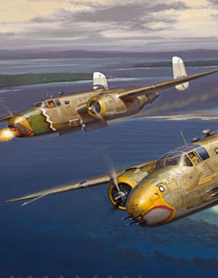 cropped version of painting of 345th Bomb Group B-25s over Kaeving