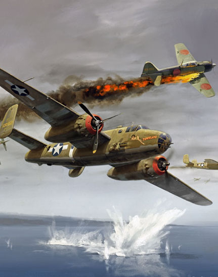 Cropped section of painting of 345th Bomb Group B-25 Tondelayo