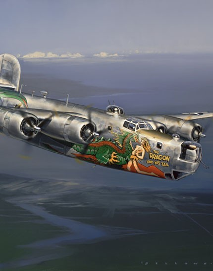 Select portion of painting of the 43rd Bomb Group B-24 The Dragon and His Tail
