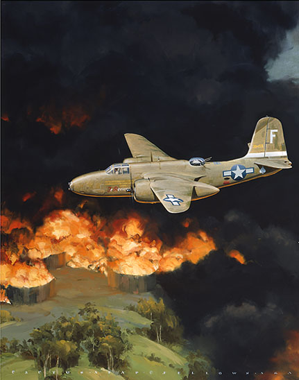 cropped section of 312th Bomb Group A-20 painting Tempest over Boela