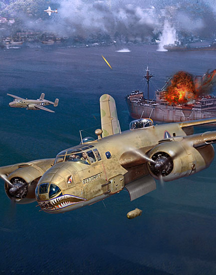 closeup of a painting of a B-25 dropping a bomb