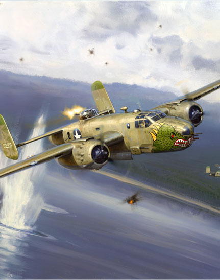 A section of the painting of the 38th Bomb Group B-25, Tokyo Sleeper