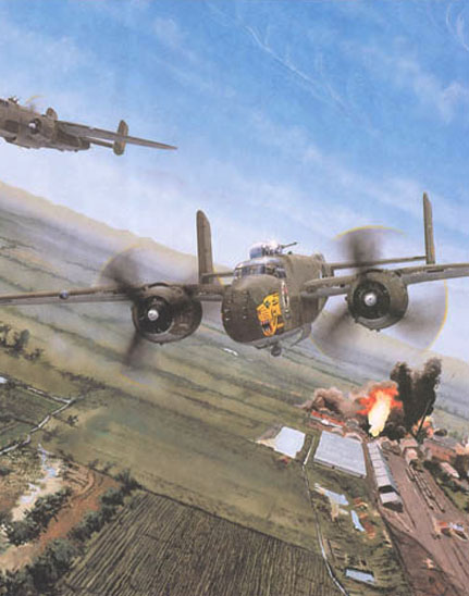 part of a painting of 38th Bomb Group B-25s over Formosa