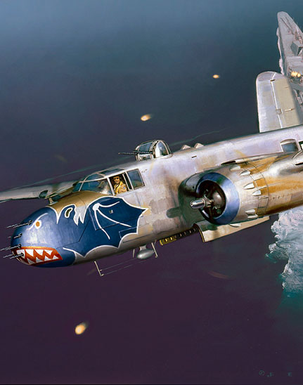 Cropped section of a 345th Bomb Group B-25 painting