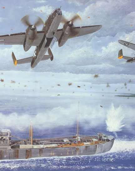 painting of B-25s from the 38th Bomb Group flying over a Japanese ship