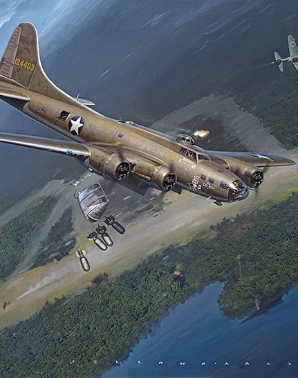 cropped section of 43rd Bomb Group B-17 painting The Old Man's Ordeal