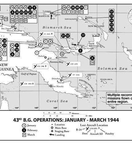 Map of 43rd Bomb Group missions from January - March 1944 for the book Ken