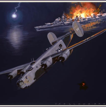 Painting of a 43rd Bomb Group night mission for the book Ken