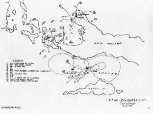 A map of a 63rd Squadron mission to Kavieng on April 5, 1943.
